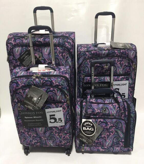 London Fog Mayfair 4pc Light Luggage Set Expandable Navy Blue White Paisley For Sale Online Ebay