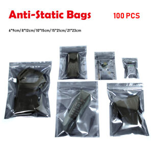 100PCS-Semi-Transparent-ESD-Anti-Static-Shielding-Bags-All-Size-Zip-Package-Bags