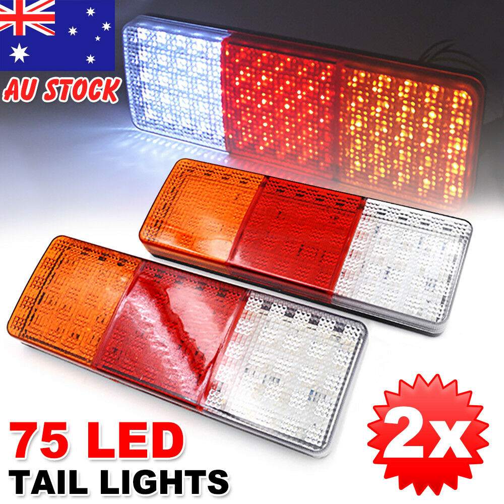 2x 12v 75 Led Tail Lights Ute Trailer Caravan Truck Boat Reverse Accessories And Super Bright Leds Indicator Z Ebay