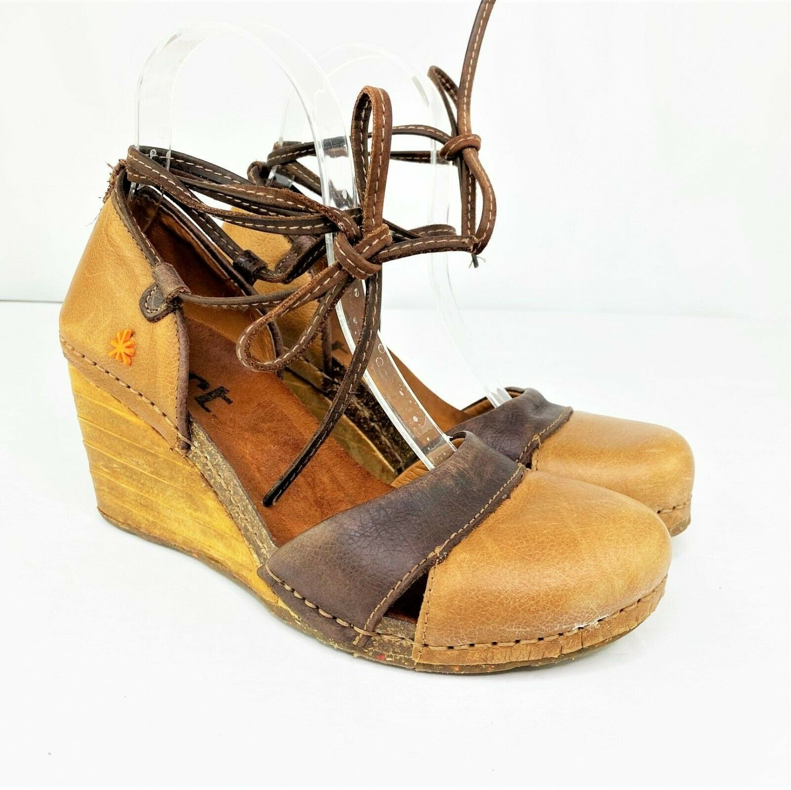 The Art Company Lace Up D'Orsay Wooden Wedge Heels, Size 38