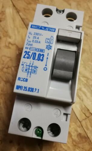 Schupa NPFI 25.030.2.1 25A 0,03A 2-pol FI-Schutzschalter 30mA Einbautiefe 55mm