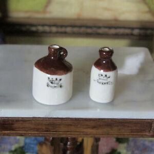 Artisan-Dollhouse-STONEWARE-POTTERY-JUG-LOT-Miniature-Dish-Vase-Artist-Wine-Beer