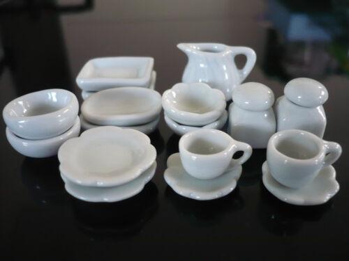 19 White Kitchenware Plate//Dish//Jar Dollhouse Miniatures Ceramic Supply Food