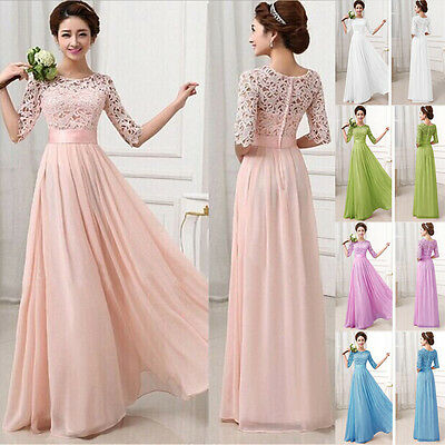 Ladies Sexy Prom Bridesmaid Sweetheart Evening Formal Party Gown Lace Dresses