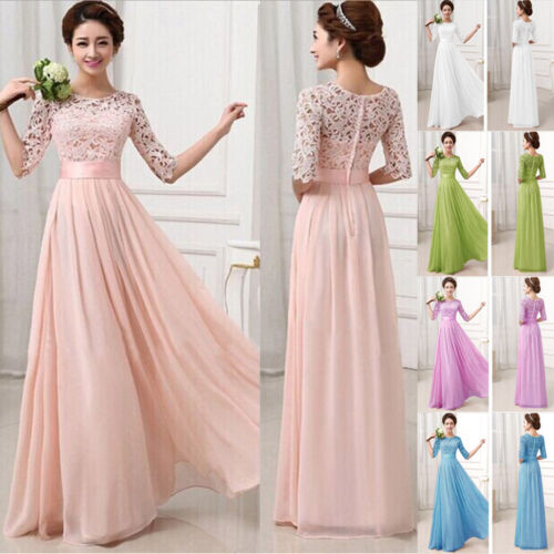 Long  Womens Chiffon Evening Party Formal Bridesmaid Prom Gown Dress
