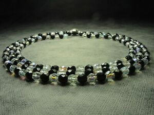 Vintage-Bohemian-3-Row-Faceted-Black-amp-Aurora-Borealis-Glass-Bead-Necklace