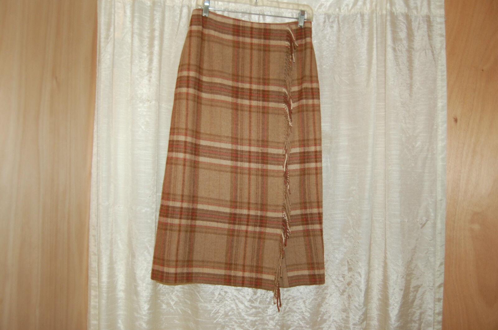 Brooks Bredhers Brown Wool Plaid Long Skirt Size 8