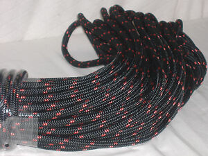 Double Braid Polyester line 7/16x150 ft black, red tracers