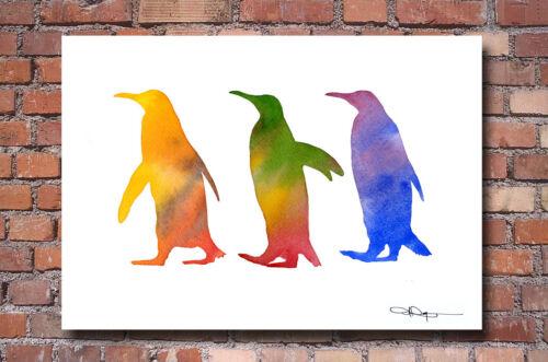 Penguins Watercolor Painting Penguin Art Print by Artist DJ Rogers