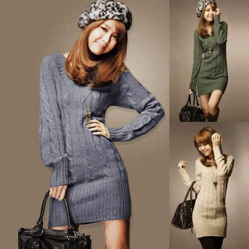 Damen Pullover Jumper Lange Nach Oben Mini Kleid Pullover V Ausschnitt Winter
