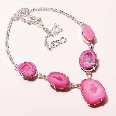 """30 GM .925 STERLING SILVER BEAUTIFUL PINK DRUZY SLICE AGATE NECKLACE 17""""18"""""""