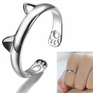 Fashion-Silver-Cat-Ears-Adjustable-Band-Thumb-Finger-Ring-Jewelry-Open-Knuckle