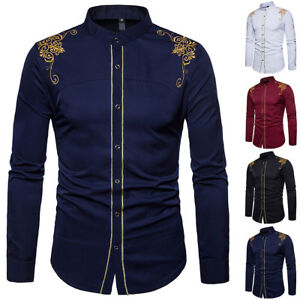Luxury-Men-039-s-Casual-Shirt-Slim-Fit-Long-Sleeve-Cotton-Formal-Dress-Shirts-Tops