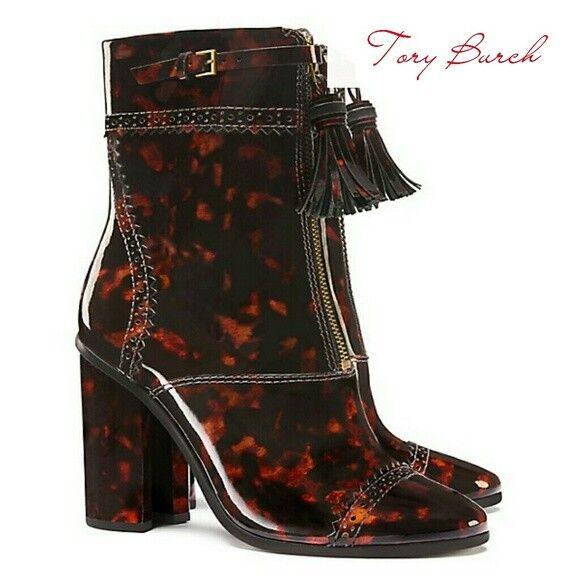 595 Tory Burch HUXLEY Tortoise Tassels Front Zipper Ankle botas  botaies 7-37
