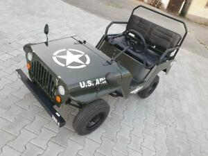 HILLBIL Willys Jeep 110 ccm Benzinmotor Kinderauto gefedert, 3-Gang bis 45 km/h