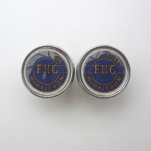 Grubb Repro F.H. Caps Vintage Chrome Racing Bar Plugs Freddie Wimbledon