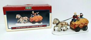 Lemax Porcelain Hay Carriage Ride #53147 Christmas Village 1995