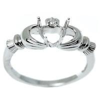 14kt White Gold E Vs Diamond Claddagh Semi Mount Ring on Sale