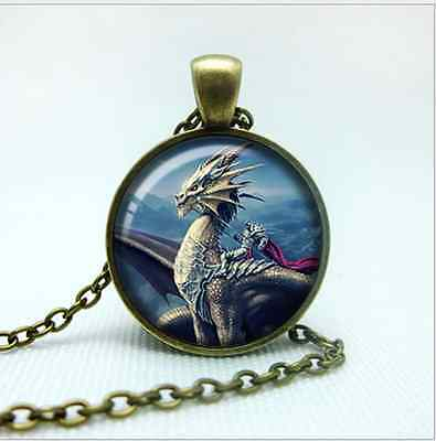 MetalPunk Bronze Steampunk Dragon Knight  Glass Art Pendant Chain Necklace