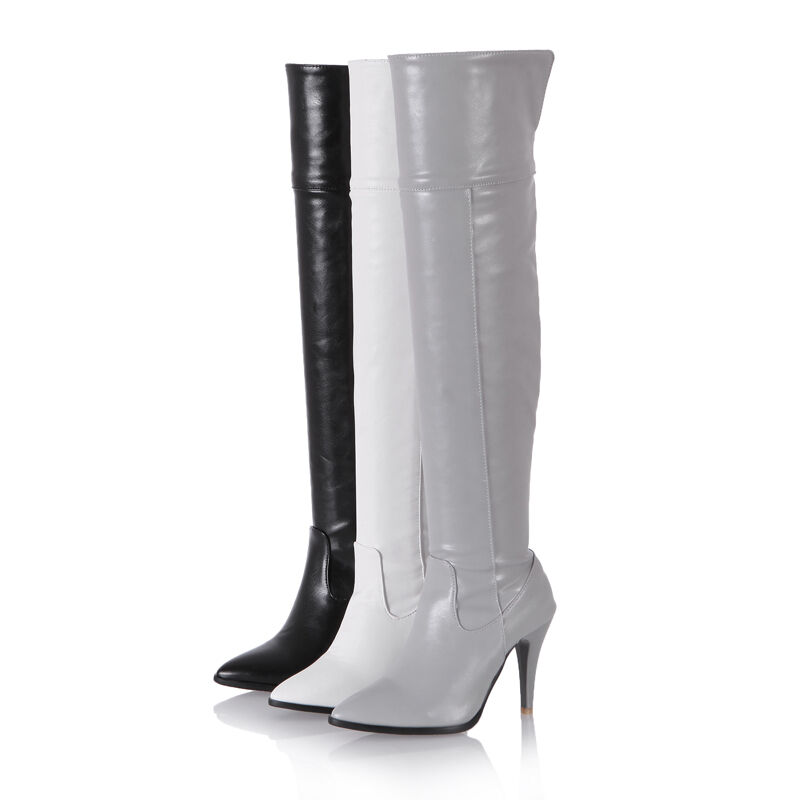 Womens shoes Synthetic Leather High Heels Side Zip Over Knee Boots US Size b090