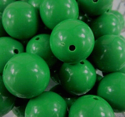 20mm Green St Patrick's Day Bubblegum Beads Chunky Necklace Round Smooth