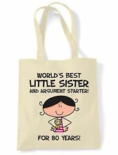 World Best Little Sister 80th Birthday Present Shoulder ToteBag - Gifts For Her