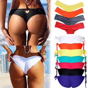 Womens Bikini Bottoms Brazilian Cheeky Thong V Swimwear Swimsuit Bathingsuit O84 Ebay