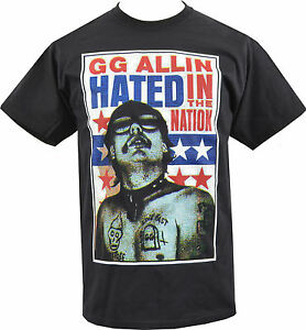 a1aa20902a3b3 MENS T-SHIRT GG ALLIN HATED IN THE NATION PUNK ROCK CULT MURDER ...