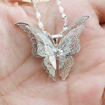 Women Lady Girl Silver Plated Lovely Butterfly Necklace Pendant Hot