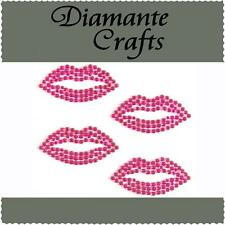 4 x 34mm Hot Pink Diamante Lips Rhinestone Vajazzle Self Adhesive Body Art Gems