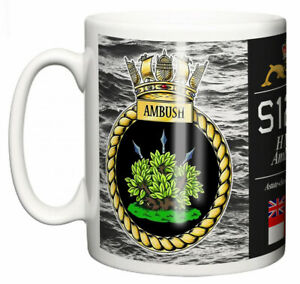 Royal Navy HMS Ambush Ceramic Mug, Astute Class Attack Submarine Pennant S120