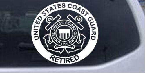 United States Coast Guard Retired Car Truck Window Decal Sticker White 6X5.6