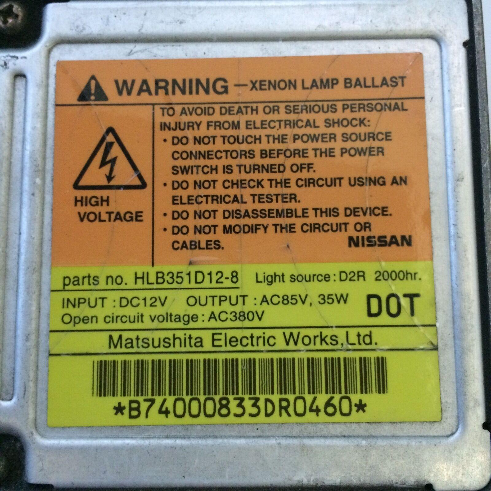 OEM Matsushita Nissan Maxima Infiniti I35 Xenon Headlight Ballast  HLB351D12-8 | eBay