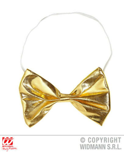Gold Metallic Bow Tie Clown Circus Fancy Dress Carnival Accessory