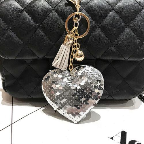 Heart Sequins Handbag Charm Pendant Keychain Bag Keyring Key Chain Jewelry Pip