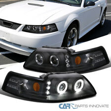 ford 10 14 mustang black led drl halo projector headlights head lamps left right for sale online ebay ebay