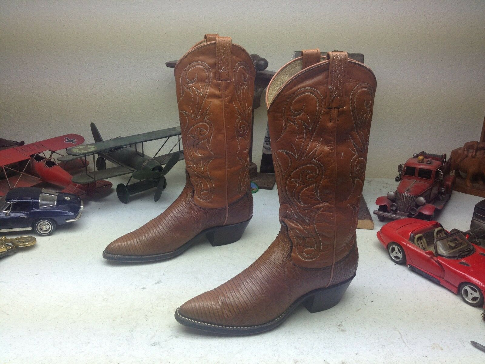 DAN POST USA COGNAC BROWN LIZARD LEATHER WESTERN BOOTS ENGINEER DANCE RANCH BOOTS WESTERN 7 M 58821a