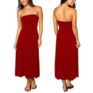 A-line-Chic-strapless-Jersey-Cocktail-Party-Day-Dress-Convertible-Skirt-Scarlet