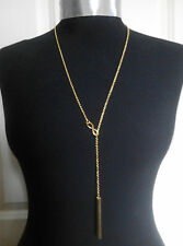 """A Gold Tone Stick Noble Bar Infinity Charm Muti Style Y- Necklace 20"""" Body chain"""
