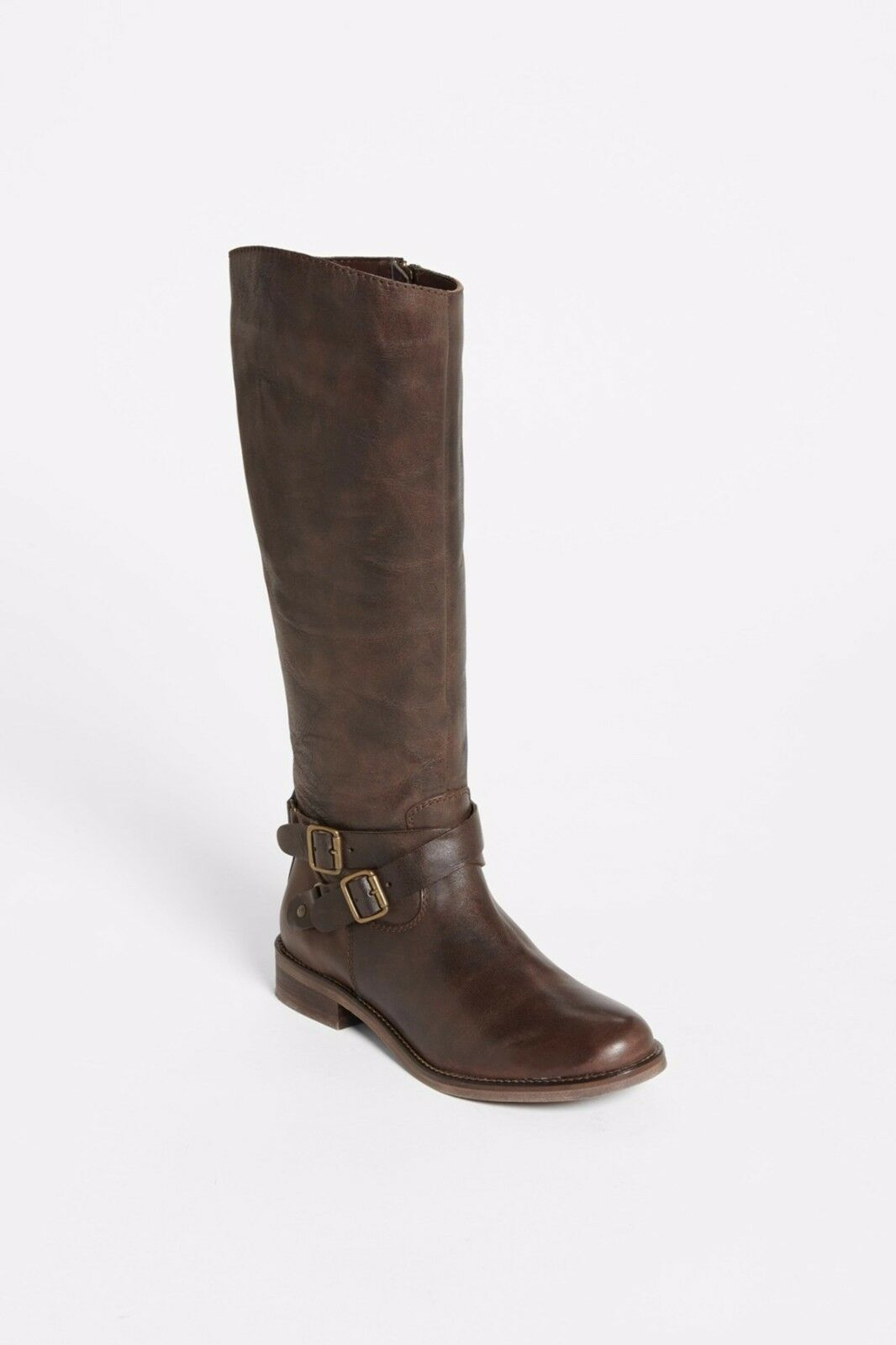 $150 NWT Hinge Devin distressed / burnished leather tall riding boot BROWN 5.5