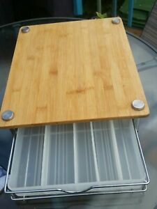 Wood Chopping Block With Drawer for Up To 5 Knives,...
