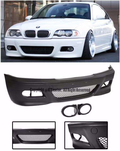 For 99-05 BMW E46 Coupe 2Dr M3 Style Front Bumper Cover With Fog Light Covers