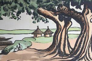 Pierre CASTAGNEZ (1898-1951) Le fleuve Niger au Mali gravure sur bois Afrique