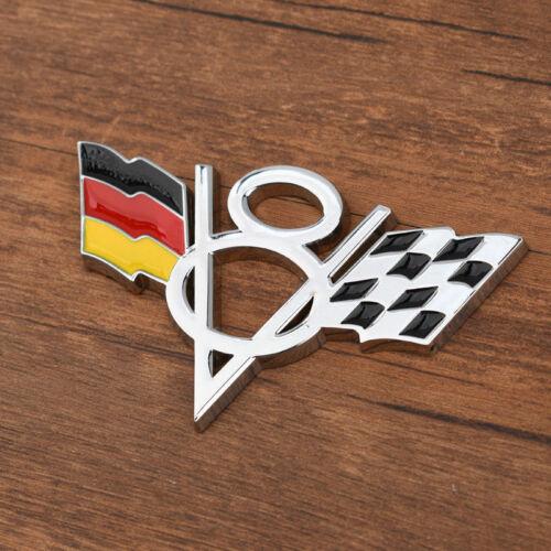 Car V8 Vintage Logo Germany Flag Chrome Trunk Metal Emblems Badge Decal Sticker