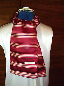 100/% woven silk men/'s cravat//scarf Tan//blue//white stripes NEW