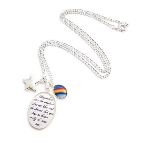 WIZARD OF OZ charm necklace Somewhere over the rainbow lyrics star toto dorothy