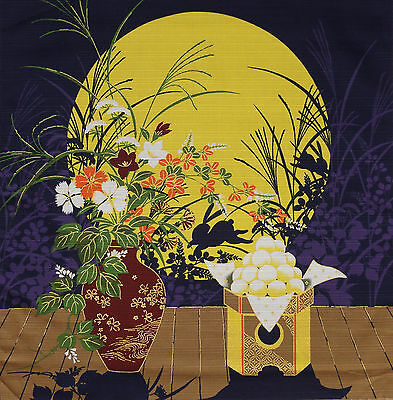 Furoshiki Wrap Cloth Japanese Cotton Fabric 'Waiting for the Moon' Rabbit 50cm