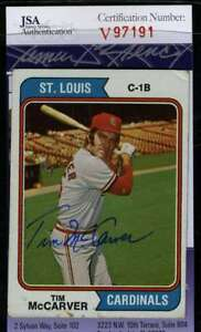 Tim Mccarver 1974 Topps Jsa Coa Hand Signed Authentic Autograph