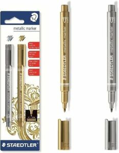 Pack of 2 Staedtler 8323-SBK2 Metallic Markers Gold/Silver Markers Artists' Pens & Markers