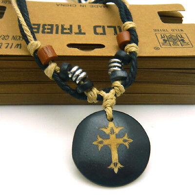 Adjustable Thick Braided Hemp Beaded Crucifix Cross Yak Bone Pendant Necklace